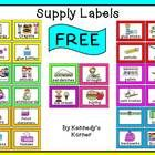 FREE ~ Back to School labels for your supplies!   Enjoy!   These labels can be found in our NEW Classroom Décor ~ choose from our two themes...   N...