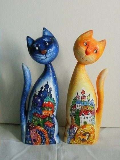 Кошка и кот . Скульптура, дерево , ручная роспись - коты,дерево,Ручная роспись по дереву