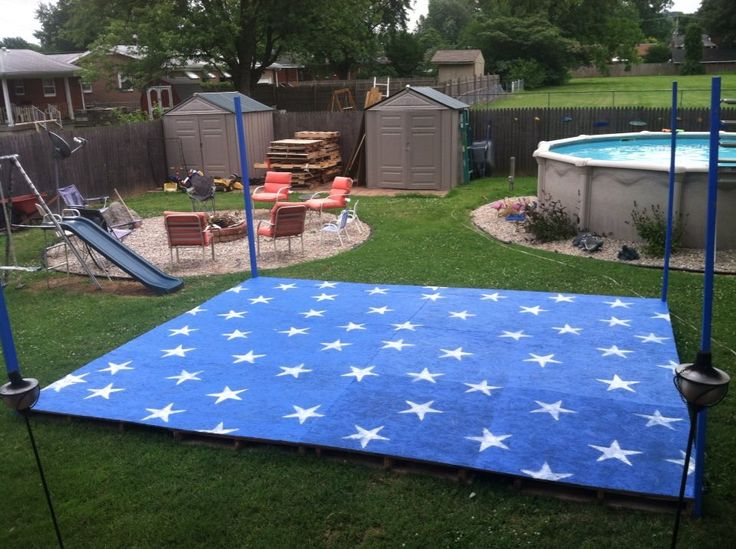 Backyard Dance Floor For July Party And Vow Renewal Made Out Pallets Plywood Last Minute