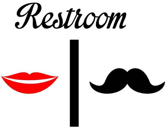 Bathroom Restrooms Sign Men Women Lips Mustache Lipstick Decal Vinyl Sticker Wall Art