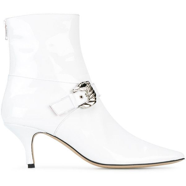 Dorateymur Saloon boots (€370) ❤ liked on Polyvore featuring shoes, boots, white, pointed toe kitten heel shoes, pointed toe boots, white shoes, pointy toe shoes and pointy-toe boots