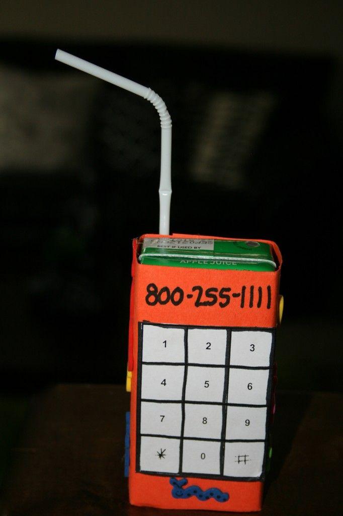 Juice box to teach kids their phone number.
