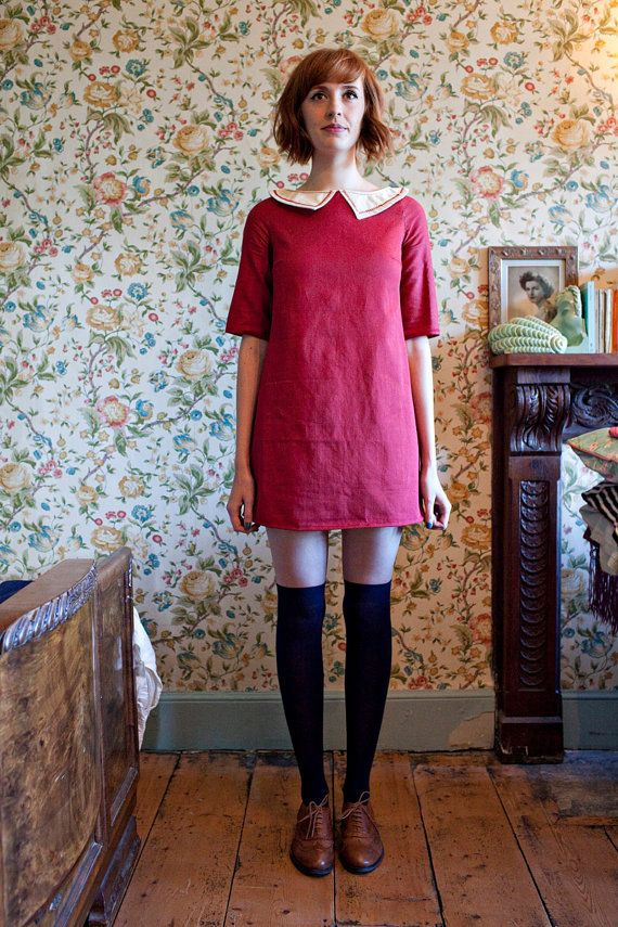 The 'Poppy' Red Organic Cotton Denim Shift Dress With Embroidered Collar