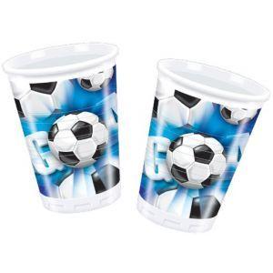10 Gobelets en plastique imprimés Football 20 cl pour l'anniversaire d'un garçon qui aime ce sport : un super anniversaire enfant sur le thème du football