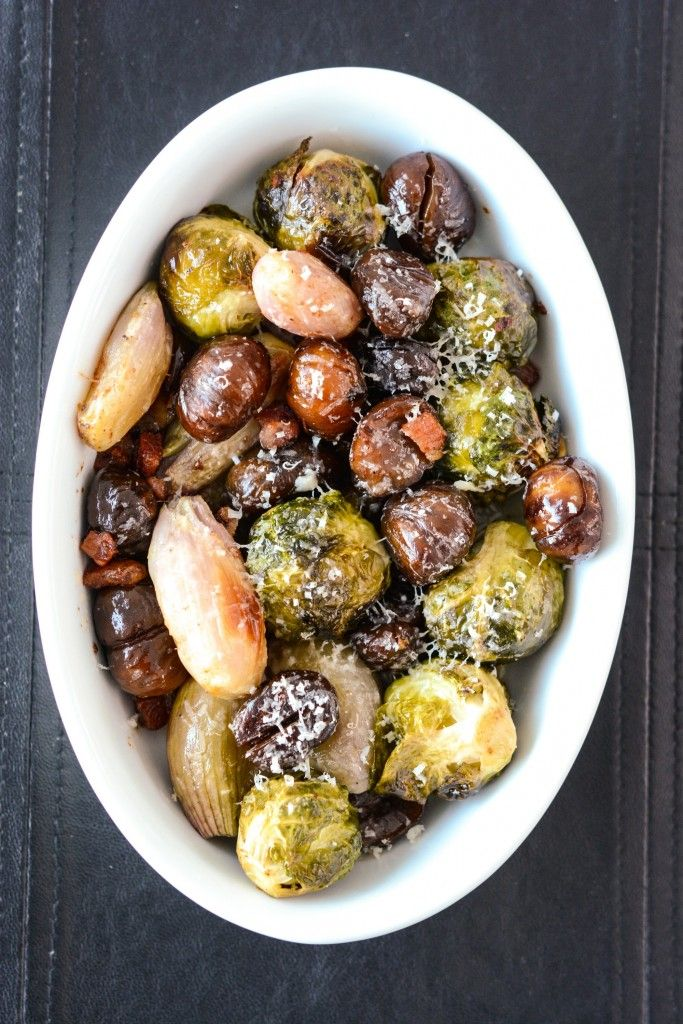 Roasted brussel sprouts with chestnuts, shallots with pancetta