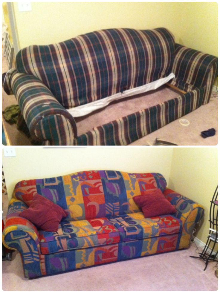 Couch reupholster - before and after