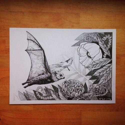 Bat- finish, 6 hours of draw, linking, dots. Happy with arm pain:-). Follow me at FB https://m.facebook.com/cipananatalia