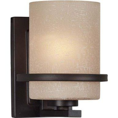 Black Friday 2014 Forte Lighting Transitional Wall Sconce Antique Bronze Finish With Umber Linen Glass Shade From Cyber Monday