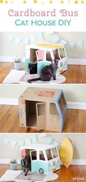 super Transform an empty box into the cutest house of the cat! This VW Bus cat hat … #this #a # carton #cat #empty