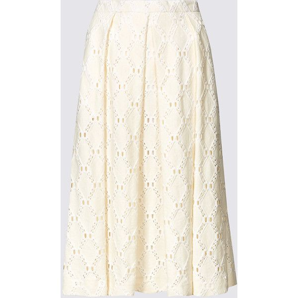 Cotton Blend Lace Pleated Skater Midi Skirt M&S ($51) ❤ liked on Polyvore featuring skirts, pleated midi skirt, pleated skirt, lace skater skirt, lace pleated skirt and calf length skirts