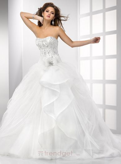 White Puffy Ball Gown Strapless Floor-length Organza Wedding Dress 2013 - $190.99 - Trendget.com