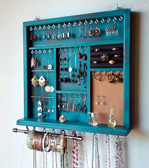 Jewelry display. earrings rack. necklace holder. TURQUOISE distressed earring holder with shelf. wall mounted jewelry storage