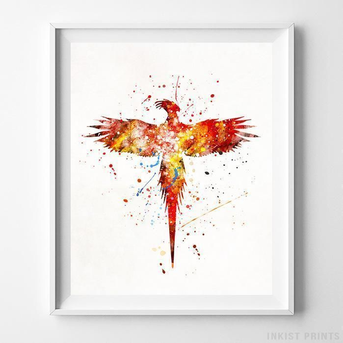 Phoenix, Harry Potter Watercolor Wall Art Print. Prices from $9.95. Available at InkistPrints.com - #harrypotter #watercolor #harrypottertheme #harrypotterfan #homedecoration #Phoenix