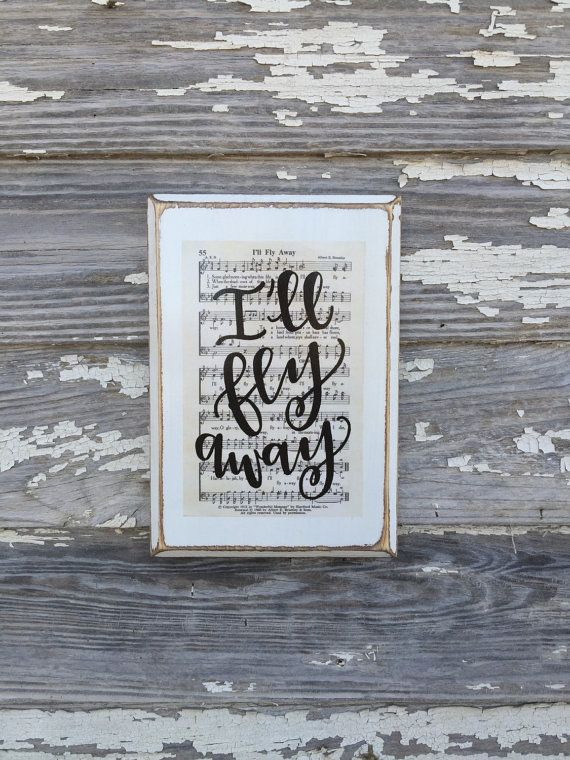 I'll fly away Hymn Board hand lettered wood sign by ImperfectDust