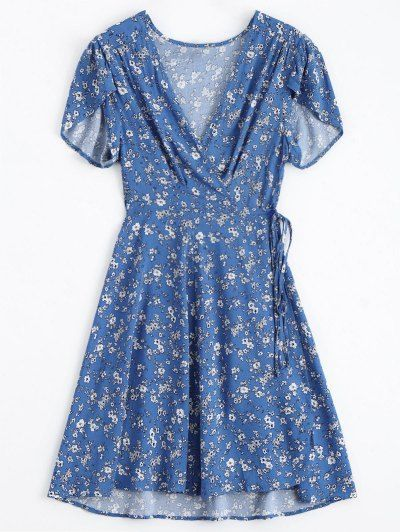 SHARE & Get it FREE | Tiny Floral Plunging Neck Wrap Dress - Blue LFor Fashion Lovers only:80,000+ Items • New Arrivals Daily Join Zaful: Get YOUR $50 NOW!