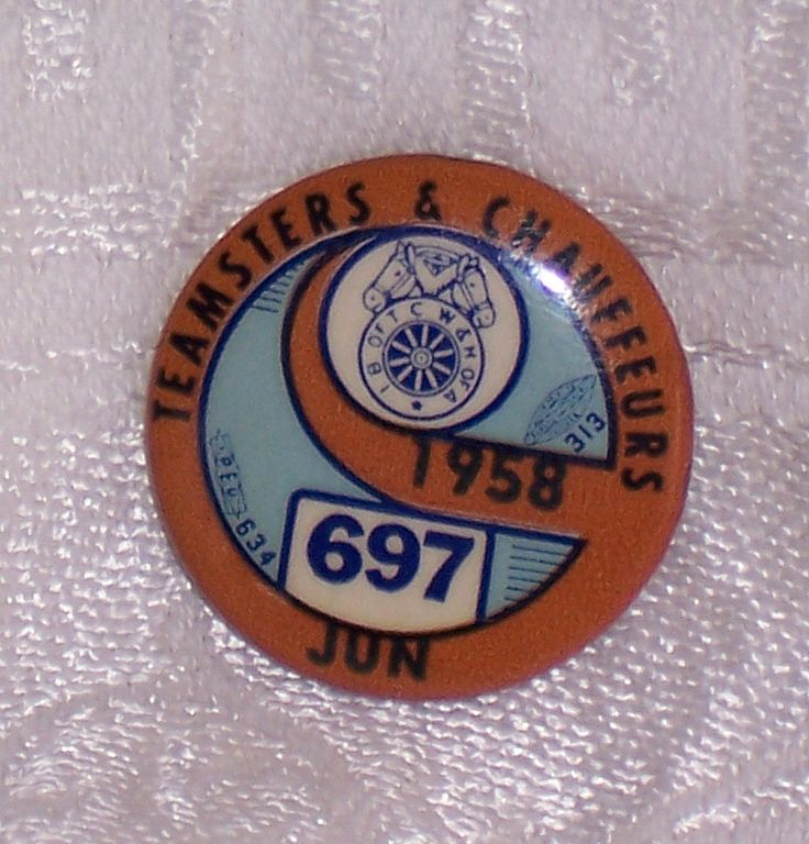 Teamsters and Chauffers Union Pin 1958, Local Union Pin 697, Jun Tin Pin Back Button Union Workers, Older Workers Button Pin Union by SierrasTreasure on Etsy