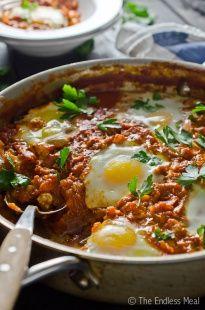 Make Ahead Harissa Shakshuka {aka: egg & tomato breakfast skillet}