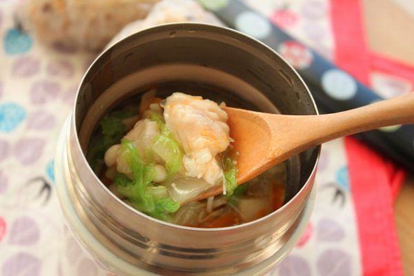 寒い日のポカポカ弁当「鶏ささみと白菜のトロトロスープ」 - 朝時間.jp