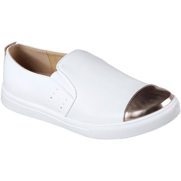 Skechers Women's Moda White - Skechers Slip-On Sneakers ($59) ❤ liked on Polyvore featuring shoes, sneakers, white, metallic shoes, white shoes, slip-on sneakers, slip on shoes and skechers sneakers