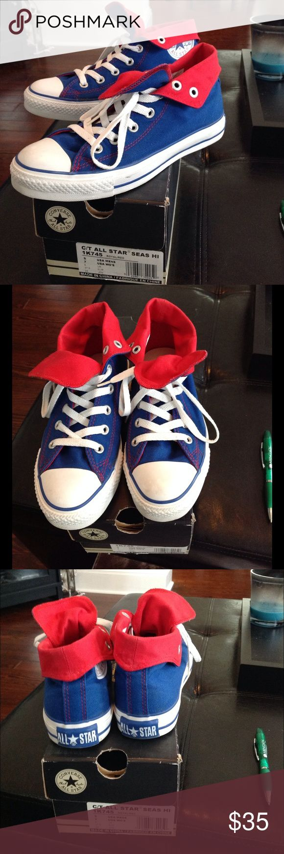 Royal, red and white Chuck Taylors Perfect for upcoming Summer season. Comfy high top Chucks, can be rolled down to show red. One scuff pictured in first pic and scuff one toe pictured on second pic. Converse Shoes Sneakers