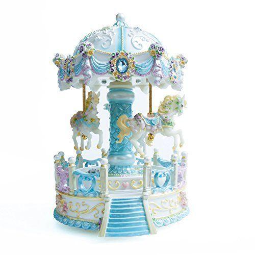 3-horse Carousel Musical Box Color Change LED Light Luminous Rotating ,Blue #Cimogifts