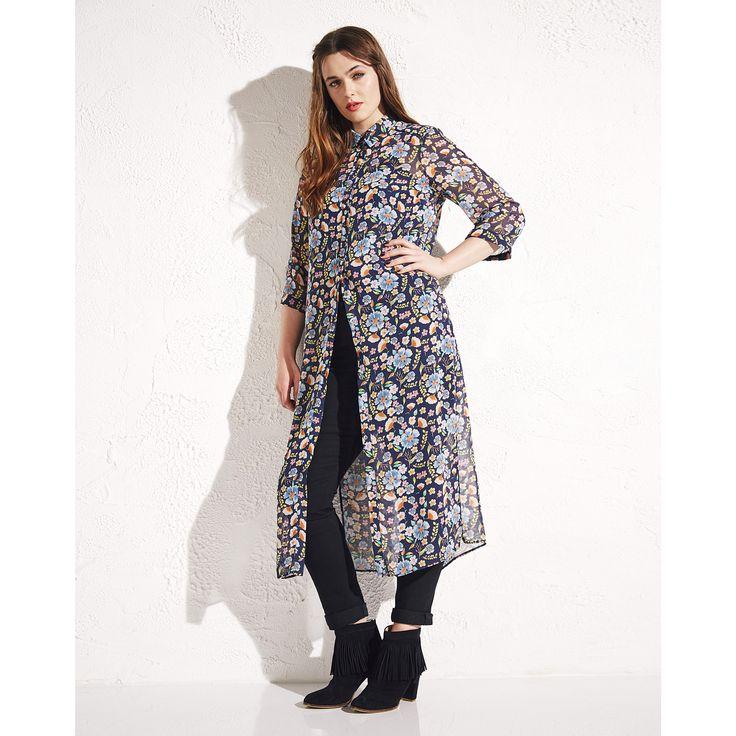 Simply Be Printed Long Line Shirt Dress | SimplyBe EU Site