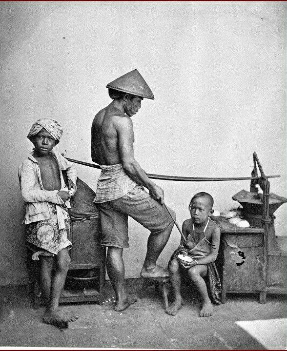 Toekang Bandrek, een Chinese gemberdrankverkoper uit Batavia. 1870