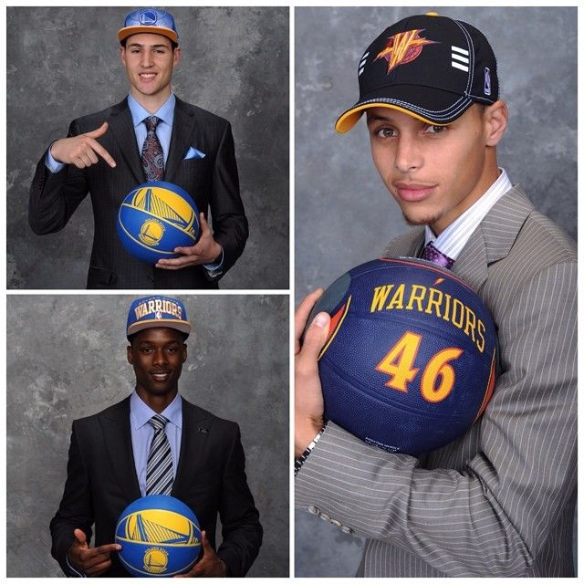 #ThrowbackThursday » Stephen Curry, Klay Thompson  Harrison Barnes on their respective #NBADraft Nights. #TBT