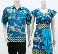 Baju Batik Sarimbit Dress Laura Indonesia Biru - Fashion Baju Batik Modern Pria dan Wanita Grosir Batik Terlengkap, Termurah dan Terpercaya