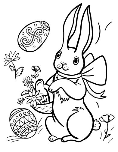 Printable Easter Bunny coloring page. Free PDF download at