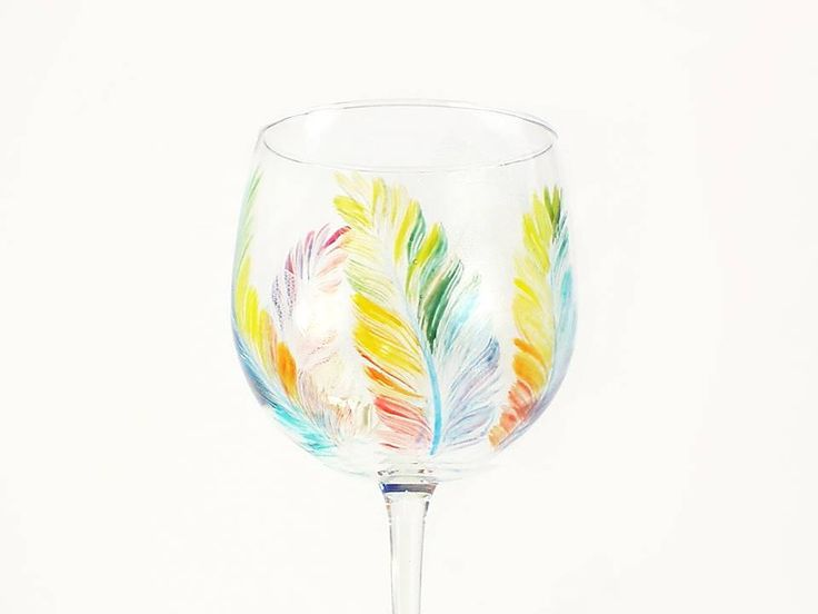Hand Painted Wine Glasses - MultiColored Feathers, Large Balloon Red Wine Glass, Set of 4 - Fun Colorful Rainbow LGBT Tropical Wine Glass by HandPaintedPetals on Etsy https://www.etsy.com/listing/208450822/hand-painted-wine-glasses-multicolored