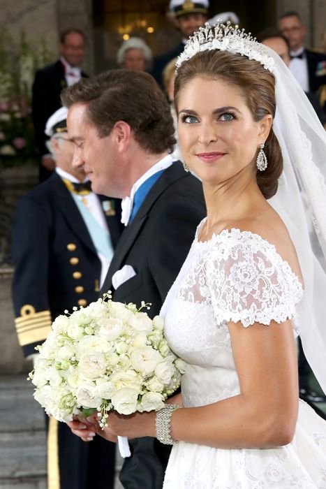 "Hello:  Wedding of Princess Madeleine and Chris O'Neil-June 8, 2013-""The bridal bouquet that Madeleine carried consisted of classic white garden roses: Austin roses, Schneewittchen, Winchester Cathedral and Alabaster, as well as lilies of the valley and the traditional myrtle from Sofiero. All the flowers are white, and the bouquet was tied into a round shape."""
