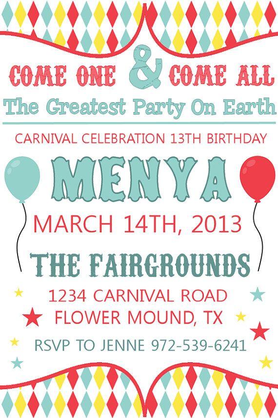 Bright Carnival Birthday Invitation #printable #invitation #carnival