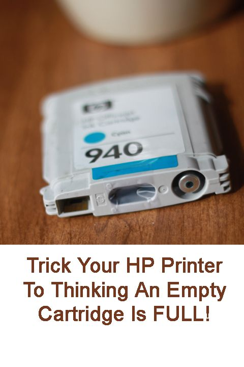 "Trick You HP printer into thinking an ""empty"" ink cartridge is full. Many printers won't print at all if one cartridge is empty...not even in black."