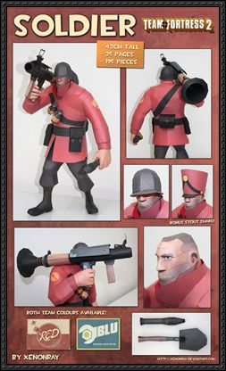 Team Fortress 2 (TF2) - Soldier Free Papercraft Download - http://www.papercraftsquare.com/team-fortress-2-tf2-soldier-free-papercraft-download.html