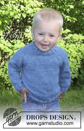 """Knitted DROPS jumper with raglan in """"DROPS ♥ YOU #4"""" or """"Nepal"""". Size 3 - 12 years. ~ DROPS Design"""