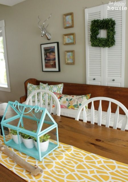 Lake Cottage Style Summer House Tour Living & Dining Room - The Happy Housie    shutters