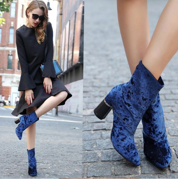 $40.50 ~ woman velvet boots mid-calf thick heel boots for women side zipper zapatos mujer blue Ankle Boots Chunky Thick High Heels Party