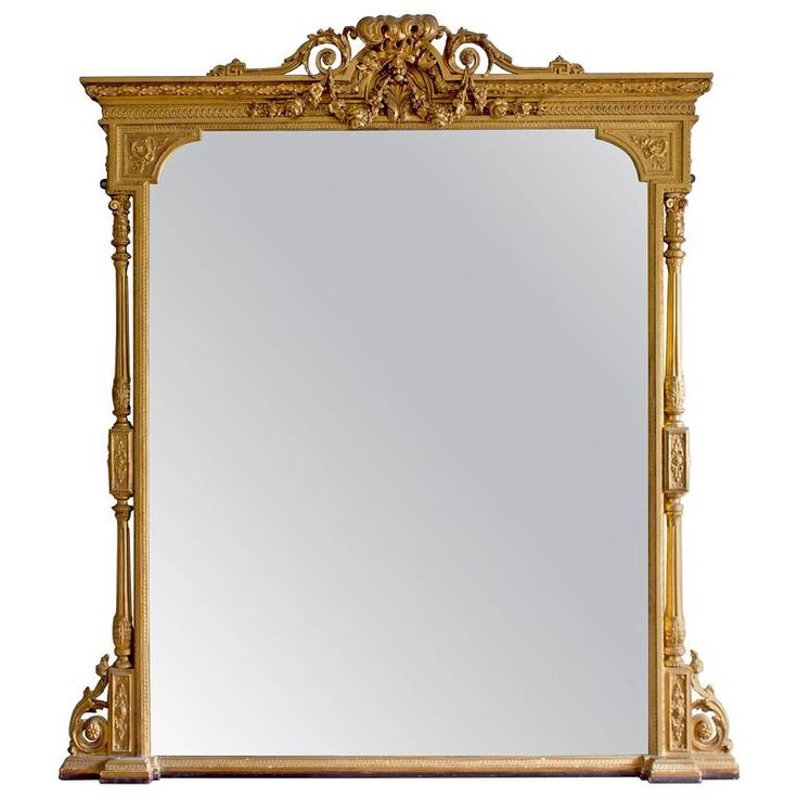 Mid-Victorian Giltwood Overmantle Mirror | From a unique collection of antique and modern mantel mirrors and fireplace mirrors at https://www.1stdibs.com/furniture/mirrors/mantel-mirrors-fireplace-mirrors/