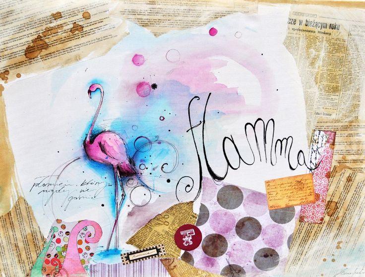 Kolaż Flamma - [Anna Sarbok] - sztukaserca.com, annasarbok.com