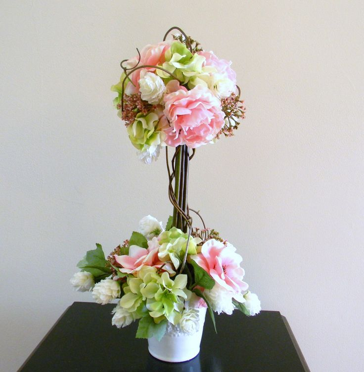 Topiary flower arrangement floral centerpiece wedding for Floral arrangements for wedding reception centerpieces