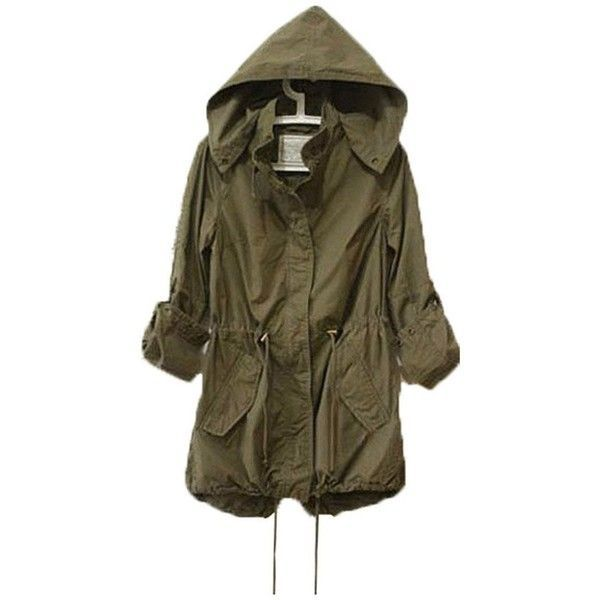 Womens Hoodie Drawstring Army Green Military Trench Parka Jacket Coat... ($15) ❤ liked on Polyvore featuring outerwear, coats, olive coat, military style coat, military fashion, parka coat and military trench coat