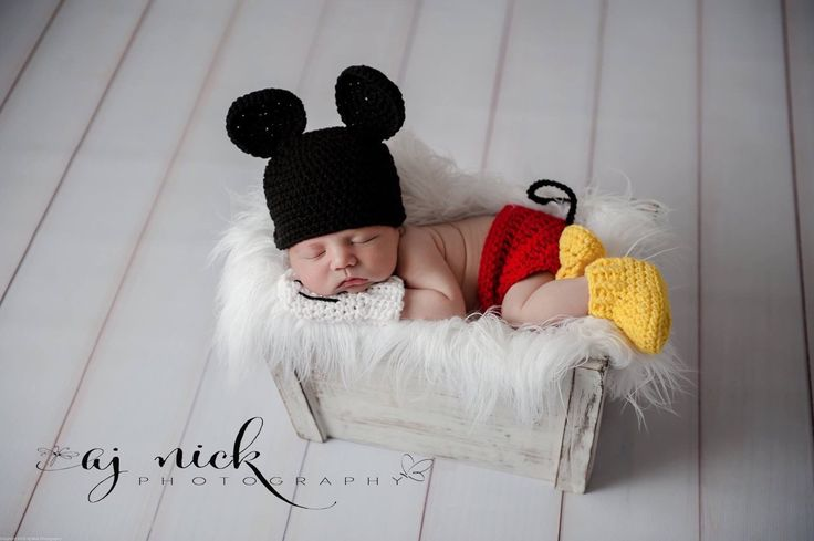 Newborn Mickey Mouse Photo prop by MilkMoneyCrochet on Etsy https://www.etsy.com/listing/248585809/newborn-mickey-mouse-photo-prop