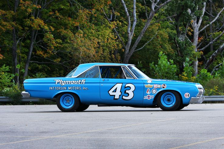 """1964 Plymouth Richard Petty won the Daytona 500 with his in 64.  Imagine going around the track at 160mph in this nearly """"stock"""" car."""
