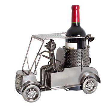 """Porte-bouteille BRUBAKER pour la présentation de vos meilleures bouteilles de vin ou jolie sculpture en métal décorative (modèle: 'Golfeur en voiturette de golf') Une drôle idée cadeau pour un amateur de vin Avec carte de vœux """"In Vino Veritas"""""""