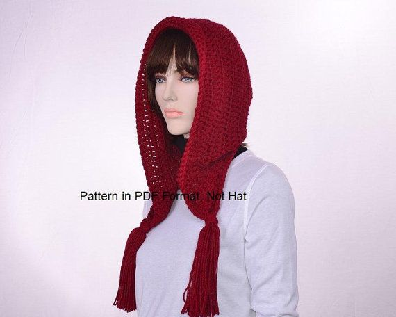 Crochet Red Riding Hood Pattern  Hooded Hat with by KnotWyrd, $5.00
