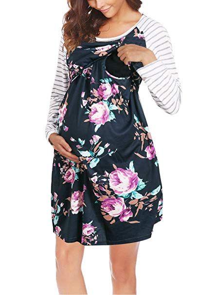 251445e0b4d6e Cinery Maternity Dress, Ladies Pull up Breastfeeding Dress Lightweight  Trendy Basic Nursing Dresses for Feeding