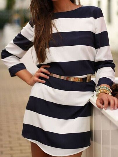 Navy White Crew Neck Striped Loose Dress -SheIn(Sheinside) Mobile Site