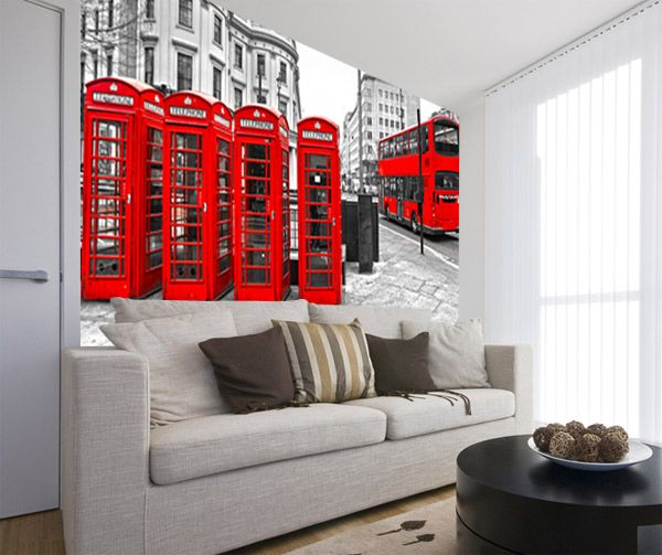 Fotomurales London in Red. Ideas decoración academia de inglés #decoración #academia #inglés #ideas #vinilo #TeleAdhesivo