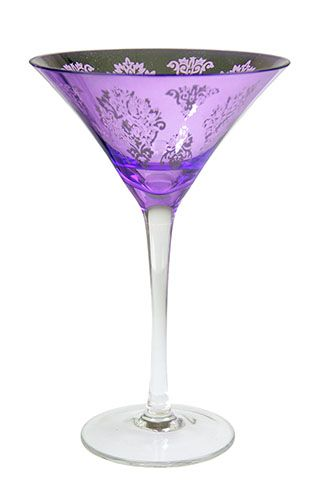 Platinum Purple Martini Glass